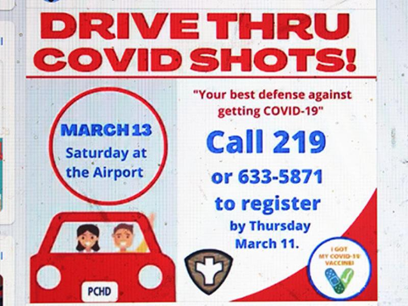 Drive-thru vaccines available this Saturday at Airport