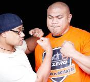 Oscar Kightle and Davis Tua jokingly boxing