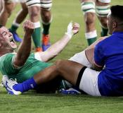 Ireland's Johnny Sexton celebrates after scoring a try against Samoa