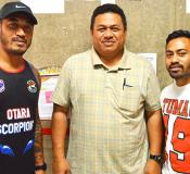 Va'afusuaga Dr. Roy Ausage, with two representatives from the Tag Football Federation in Samoa