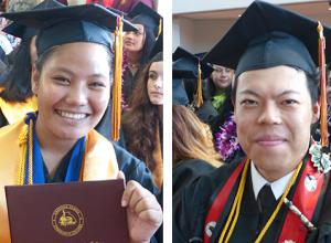Graduating with honors at last Friday's American Samoa Community College Spring 2018 graduation ceremony with accumulative grade point averages (GPA) of 3.90 to 4.0 are Monalisa Sera Afoa and JunLin Du. The two graduates are Summa Cum Laude with the highest GPAs for the graduating class.  Afoa is among the 10 graduates who were awarded ASG scholarships. Afoa WAS accepted at Southern Utah University.  [photo: Leua Aiono Frost]
