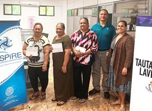 (l-r) ASCCC treasurer Christinna Lutu-Sanchez, Akenese Maifea, Faaeteete Sio, Meleseini Siufanua, ASCCC chairman Taotasi Archie Soliai, and board member Dr. Jueta McCutchan.
