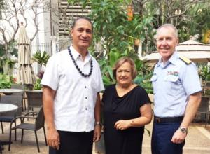 Chairman Taotasi Archie Soliai; Council executive director Kitty Simonds; and Rear Admiral Kevin Lunday, commander of the Honolulu-based 14th District of the US Coast Guard