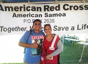 June Maeva with another Red Cross volunteer