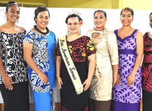 Reigning Miss American Samoa, Magalita Johnson (3rd from left) surrounded by the five beauties vying for the 2019-2020 title. In no particular order: Epifania Petelo, Jo-nica Ta'aitulagi Tuiteleleapaga, Brenda Fa'afua Foleni, Menora-Justine M. Samoa, and Tauaitala Leasiolagi.