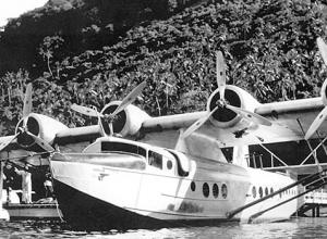 "Pan American Airways ""Samoan Clipper"" flying boat in Pago Pago in December 1937."