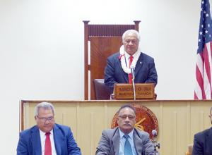 House Speaker Savali Talavou Ale at the podium