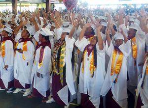 "A look at some of the 225 graduates of Tafuna High School class of 2018 during their commencement ceremony Monday morning at the Tafuna High gymnasium. Their theme was ""Tu'utu'u i le loloto, e tamali'i le poto"". [photo: Leua Aiono Frost]"