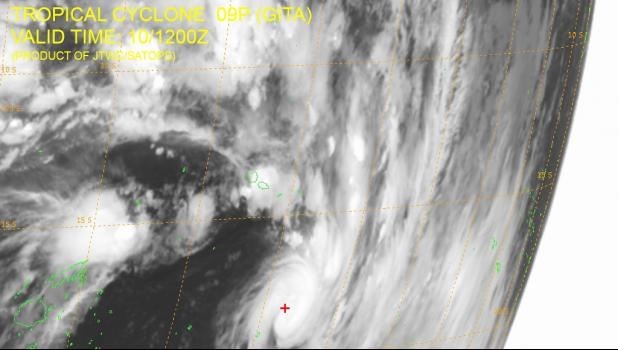 Satellite imagery of Tropical Storm Gita at 1 a.m., Feb. 10, 2018 local time. [image from Joint Typhoon Warning Center]