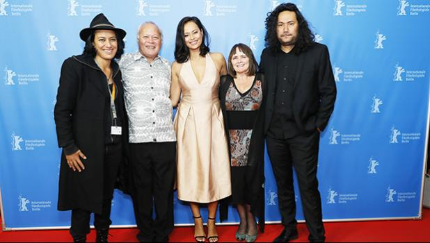 "Cast with producer and director of Tusi Tamasese's Samoan-language drama ""One Thousand Ropes"" during the World Premiere at the Berlin Film Festival 2017. (l-r) Nicky Si'ulepa, Uelese Petaia, Frankie Adams, Producer Catherine Fitzgerald, and Writer/Director Tusi Tamasese. The film is set to debut locally at the Fatu-O-Aiga Hall, in Tafuna, Thursday, Oct. 26 & Friday, Oct. 27, 7 p.m. — ""Ata tifaga Samoa ile gagana Samoa"". Tickets are $10. Contact numbers for more info are: 258-4197 or 258-5800. The movie is p"