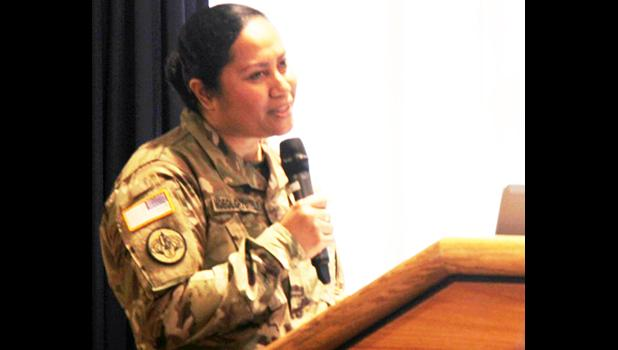 "Maj. Eline D. Moeolo-Tuitele with the 88th Readiness Division speaks to Fort McCoy, Wis., community members during the Asian-American/Pacific Islander Heritage Month observance May 17, 2018, at McCoy's Community Center. The theme for the 2018 observance is ""Unite our vision by working together."" [U.S. Army Photo: Aimee Malone, Public Affairs Office, Fort McCoy, Wis.]"