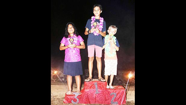 The top three winners of the 11 and Under competition of the Pago Pago Harbor Optimist Sailing Regatta held Saturday, Oct.14, 2017 out of Sadie's By the Sea Beach Resort. This is the first junior sailing regatta Pago Pago has hosted since 2008, which saw 11 Apia sailors compete against our local sailors.  [Courtesy photo]