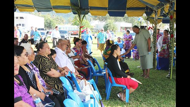 Lt. Gov. Lemanu Sialega Palepoi Mauga, welcomes families to the government memorial service on