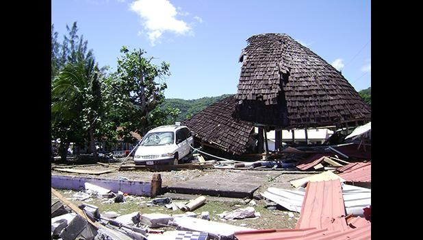 Some of the damage in Leone village after the 2009 earthquake and tsunami.