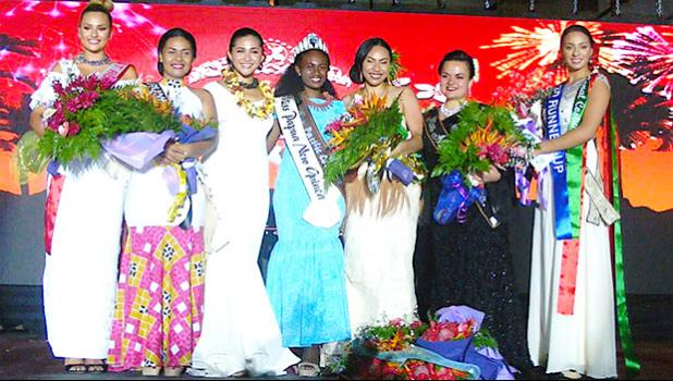 Pictured l-r: Miss Cook Islands, Lydia Simonis; Miss Tuvalu Emeli Pelesa Panapa; Miss Pacific Islands 2017-2018 Matau'aina Gwendolyn Toomalatai; newly crowned Miss Pacific Islands 2018-2019 Miss Papua New Guinea Leishina Mercy Kariha; Miss Tonga Kalolaine Talia Fanganitau; Miss American Samoa Magalita Philomena Johnson; and Miss Samoa Sonia Piva.