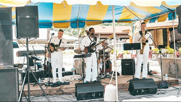 The Big Wave, the Hawai'i based US Pacific Fleet Band performing to a crowd outside of the newly renovated museum.