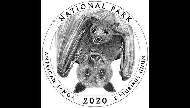 Artwork that will be on the tail side of the 2020 quarter honoring the National Park of American Samoa