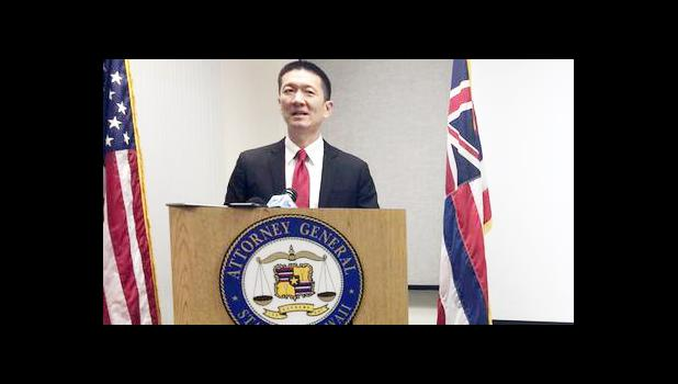 In this Feb. 3, 2017, file photo, Hawaii Attorney General Doug Chin speaks at a news conference in Honolulu announcing the state of Hawaii has filed a lawsuit challenging President Donald Trump's travel ban. The state of Hawaii has become the first state to sue to stop Trump's revised travel ban. Attorneys for the state filed the lawsuit Wednesday, March 8, 2017, in federal court in Honolulu. The state had previously sued over Trump's initial travel ban, but that lawsuit was put on hold while other cases pl