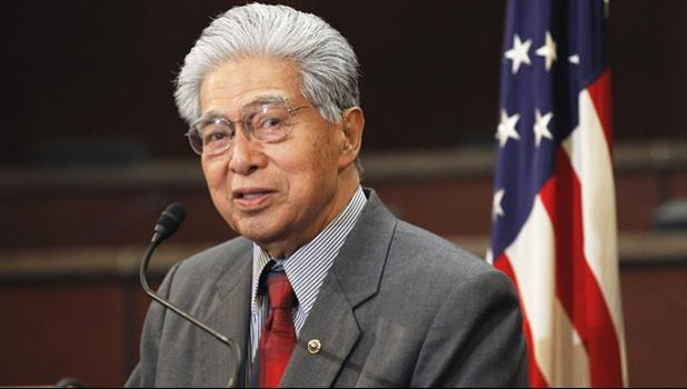 In this Feb. 16, 2011 file photo then-Sen. Daniel Akaka, D-Hawaii, speaks during a news conference on Capitol Hill in Washington. Former U.S. Sen. Daniel Akaka, the humble and gracious statesman who served in Washington with aloha for more than three and a half decades, died Thursday, April 5, 2018, at the age of 93, sources tell the Star-Advertiser. He had been hospitalized with an illness. (AP Photo/Alex Brandon, file)