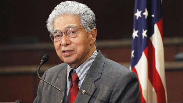 In this Feb. 16, 2011 file photo then-Sen. Daniel Akaka, D-Hawaii, speaks during a news conference on Capitol Hill in Washington. Former U.S. Sen. Daniel Akaka, the humble and gracious statesman who served in Washington with aloha for more than three and a half decades, died Thursday, April 5, 2018, at the age of 93, sources tell the Star-Advertiser. He had been hospitalized with an illness. [AP Photo/Alex Brandon, file]