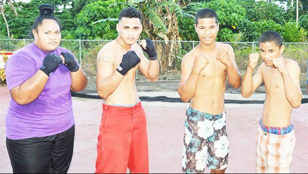 American Samoa's boxing team who will be traveling to Samoa for the Annual Teuila Boxing Championships next week: (l-r) Elisapeta Tuavela, Falaniko Tasi, Mamona Tafa and Keresema Tafa. [photo: AF]