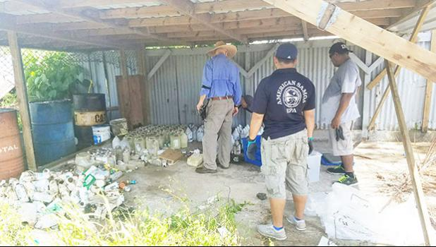 The American Samoa Environmental Protection Agency (AS-EPA) successful completed a hazardous waste removal action by the United States Environmental Protection Agency (US-EPA) in American Samoa last week. The joint team organized the collection of hazardous waste from the Lyndon B. Johnson Tropical Medical Center, American Samoa Community College Land Grant, Department of Agriculture, Department of Commerce, and AS-EPA Laboratory.  [Courtesy photo]