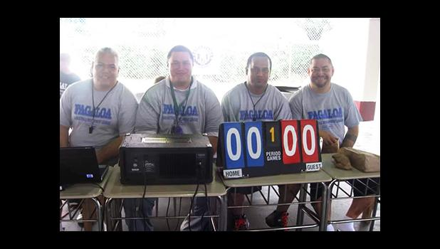 A historical shot of the core group that started the American Samoa Basketball Association 10 years ago, (left to right) ASBA President Milton Taufa'asau, ASBA Sports Developer Diehl Langkilde, ASBA Secretary Paul Amituana'i, and ASBA Vice President Michael Pereira – Today, they are still going strong in keeping the association alive.  [photo: courtesy]