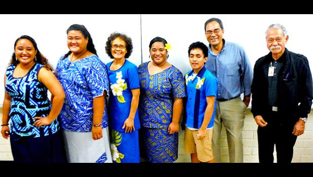 Four of the five ASCC Business students who went on a field trip to Samoa in late April, celebrate their return with Business Department chairperson Dr. Faofua Fa'atoafe and instructors Lam Yuen Lam Yuen Jr. and Ioapo Taua'i.  [photo: J. Kneubuhl]
