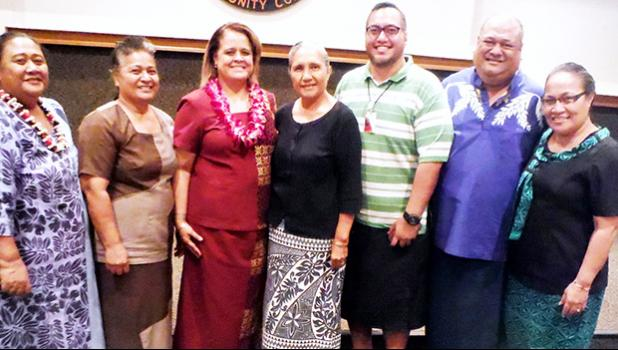 ASCC President Dr. Rosevonne Makaiwi Pato (3rd left) is seen here with Faculty Senate President Mr. Poe Mageo (2nd right) and members of the ASCC faculty following Dr. Pato's speech at last week's Faculty Convocation.  [Photo: J. Kneubuhl]
