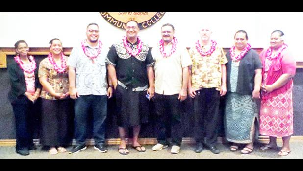 New faculty and department chairpersons for the fall 2017 semester at the American Samoa Community College include (l-r): Dr. Sybil Johnson, faculty, Language & Literature; Ms. Moresa Langkilde, faculty, Teacher Education, Mr. Derek Helsham, chair, Health & Human Services; Mr. Ernie Seiuli, chair, Computer Science; Mr. Fred Suisala, chair, Trades & Technical; Mr. Brian Michael Jackson, faculty, Social Science; Mr. Bernie Tavai, faculty, CAPP; and Ms. Tala Ropeti-Leo, faculty, Social Science. (Photo: J. Kne