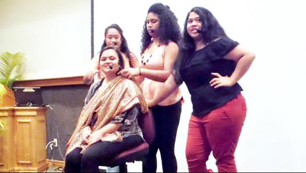 """Cast members of the ASCC 2017 theatrical production """"In The Heights"""" rehease the Salon scene. The play, set in the Dominican-American neighborhood of Washington Heights in New York City, will take place this coming Tuesday and Wednesday, May 2 and 3, in the Lee Auditorium. Doors open at 6 p.m. and the show gets underway at 7:30.  [Photo: J. Kneubuhl]"""