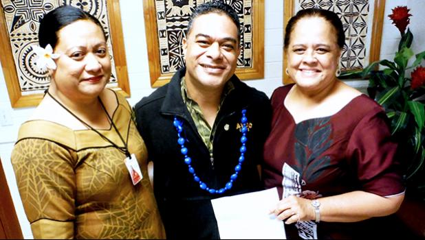 ASCC President Dr. Rosevonne Makaiwi-Pato and Dean of Affairs Letupu Moananu presented Fine Arts Department chairman Kuki Tuiasosopo with a letter of recognition from the headquarters of the Phi Theta Kappa (PTK) International Honors Society. The PTK has recognized Tuiasosopo for five years of service as an advisor to the ASCC Alpha Epsilon Mu chapter of the society.  [photo: J. Kneubuhl]