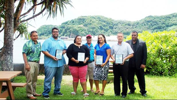 The American Samoa Small Business Development Center (SBDC), in collaboration with Bank of Hawaii, presnted grant awards to some of the Territory's especially promising small businesses at the end of 2016 to help them grow during 2017. Seen here at the presentation ceremony are (l - r) Mr. EJ Ozu (BOH), Nathan Ilaoa (Flying Fox Brewing Co.), Audrey T. Senefili (ACT Chips), Sefulutasi Senefili (ACT Chips), Tina Reid (chEATday), Matt Wade (Alliance Insurance and Financial Services), and Dr. Herbert Thweatt (S