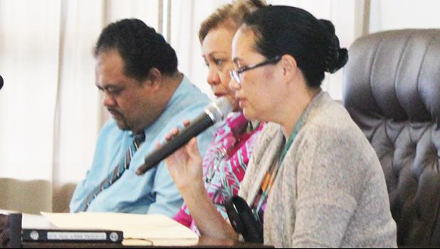 The governor's Sept. nominees to the American Samoa Economic Development Board [l-r] Commerce Department deputy director Uili Leauanae, Chief Procurement Officer, Dr. Oreta Mapu Crichton; Public Works director Faleosina Voigt at the conclusion of their Senate confirmation hearing. [SN file photo]