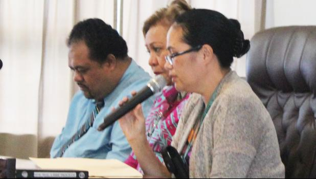 In this Samoa News file photo, American Samoa Economic Development Board nominees [l-r] Commerce Department deputy director Uili Leauanae, Chief Procurement Officer, Dr. Oreta Mapu Crichton; Public Works director Faleosina Voigt at the conclusion of their Senate confirmation hearing in August. [SN file photo]