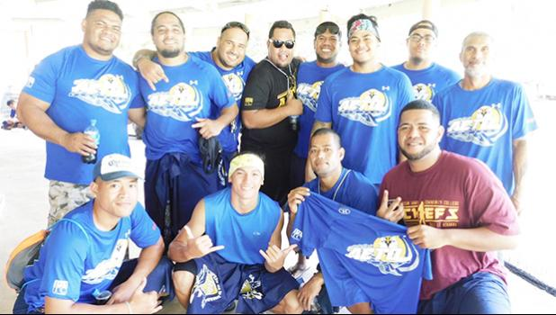 Some of the crew members of the AETO fautasi team of Pago Pago at their last get together with their major sponsor, Pago Pago Trading Company and co-sponsor H&H Samsung that was held at Pulu Ae Ae Jr.'s guest house in Pago Pago. [Photo: EM]