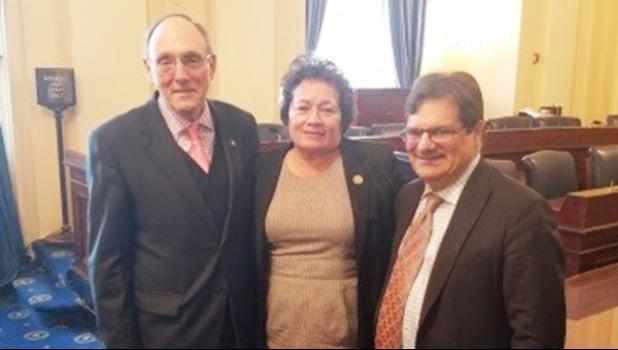 Congresswoman Amata with Chairman Roe and Vice-Chairman Bilirakis in the HVAC Hearing Room.  [Courtesy photo]