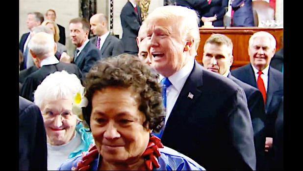 Congresswoman Amata and President Trump immediately following the State of the Union speech just after she greeted him in the chamber of the House of Representatives.  [Courtesy photo]