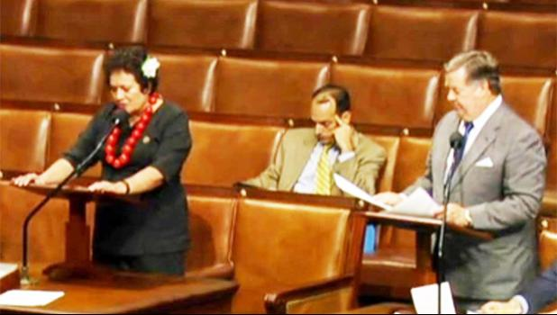 Amata and Chairman Calvert on the House floor during a colloquy, seated is Amata's Legislative Director and veteran Casey Brinck. [courtesy photo]