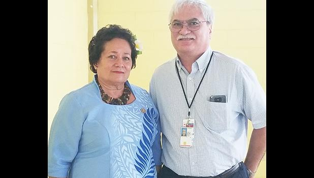 Congresswoman Amata and Dr. Urhle during the Veterans Choice Workshop on Aug. 9, 3017, hosted by the congresswoman and held in American Samoa. [Courtesy photo]