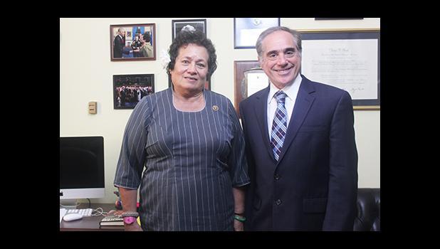 Congresswoman Amata and the VA Under-Secretary for Health Dr. Schulkin in the Congresswoman's office.  [courtesy photo]