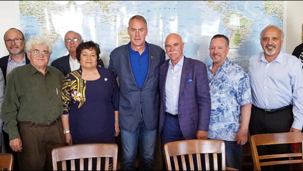 Congresswoman Aumua Amata and Interior Department Secretary Ryan Zinke during a stop in California on her way back to Washington in May of this year. [Courtesy photo]