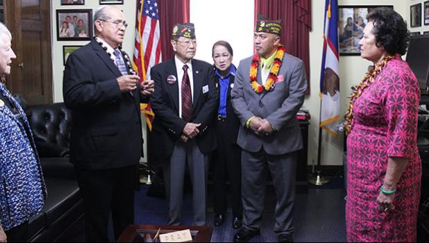 Congresswoman Aumua Amata listening to veterans' ideas and concerns [photo: courtesy]