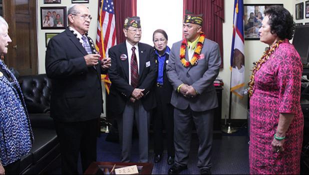 Congresswoman Aumua Amata listening to veterans' ideas and concerns [photo: courtesy]