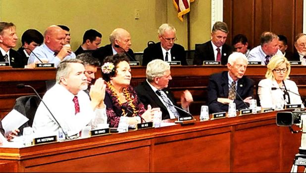 Amata at markup.jpg  Congresswoman Amata in Committee markup of the bill reforming National Monuments.  [Courtesy photo]