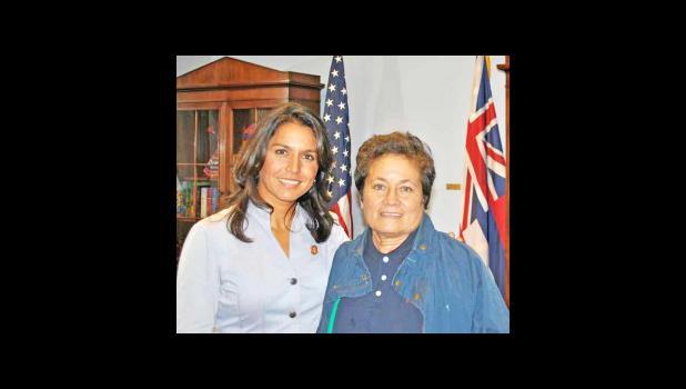 Tulsi Gabbard of Hawaii, left, and Amata Radewagen of American Samoa. (courtesy photo via Saipan Tribune)