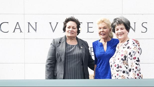 Congresswoman Aumua Amata with philanthropist Lois Pope, and Rep. Lois Frankel.  [photo: courtesy]