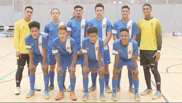 The American Samoa Youth Futsal squad before their game against Solomon Islands at Bruce Pulman Arena in Auckland, New Zealand on Wednesday, October 4, 2017.  [FFAS MEDIA/Brian Vitolio]