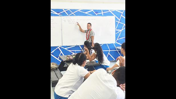 Ammon Fepuleai, from Pago Pago, a teacher at Samoana High School teaching his math class. During his spare time, he works with talented students and artists for Exposed Photography, which can be found on social sites such as You Tube and Facebook.  [photo: Ese Malala]
