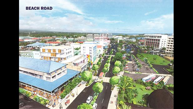"""""""These illustrations allow us to visualize how we can raise the standard of our city and entertain different ideas for the four waterfront areas,"""" Prime Minister Tuilaepa Lupesoliai Dr. Sailele Malielegao said last year of the Apia Waterfront Development Project.  [courtesy photo]"""